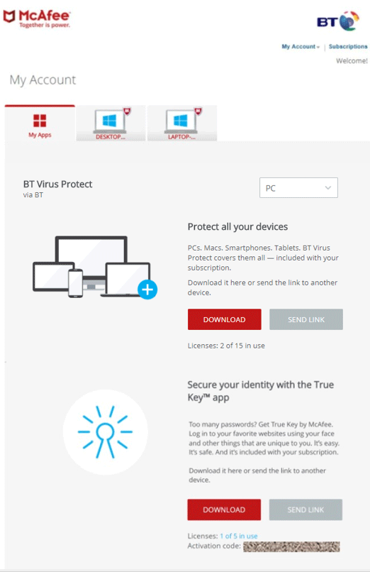 find my mcafee product key