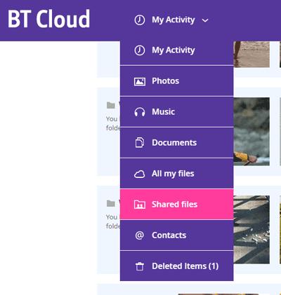 Sharing BT Cloud content