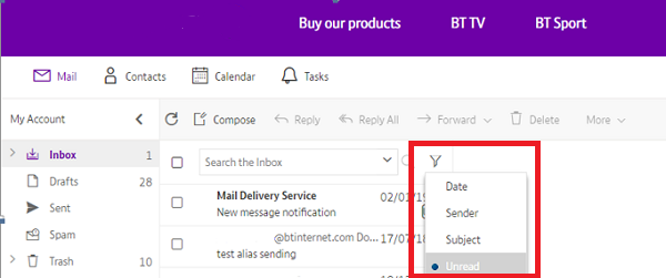 We've made changes to the layout of BT Mail   BT help