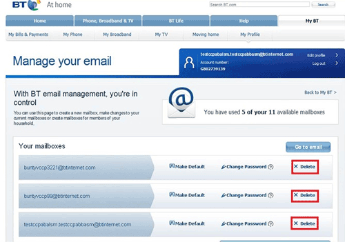 Deleting a BT Mail address