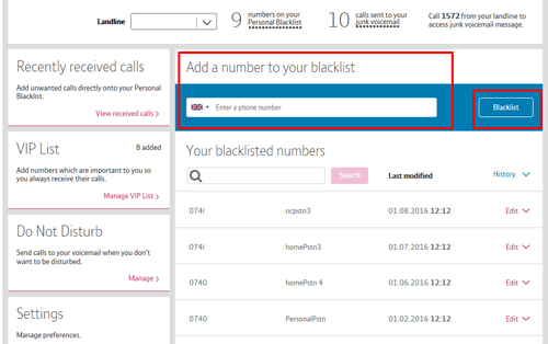 how to unblock a number on bt home phone