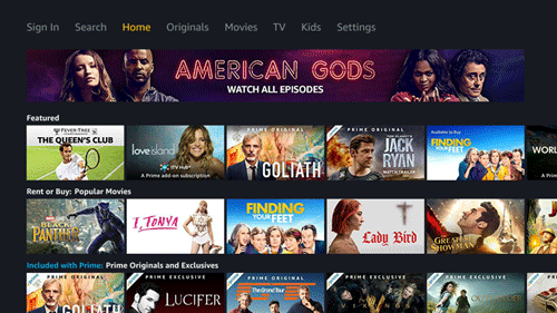 The home screen of the Amazon Prime Video App