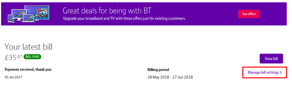 how can i change the level of itemisation on my bill bt help