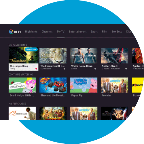 About My TV on the BT TV App - Amazon Fire TV | BT help