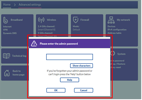 How can I set up or change the admin password on my BT Hub? | BT help