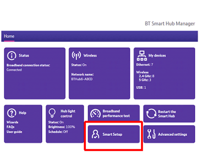 What is Smart Setup on the BT Hub? How can I turn it on and