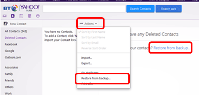 How to recover your deleted contacts in BT Yahoo Mail | BT help